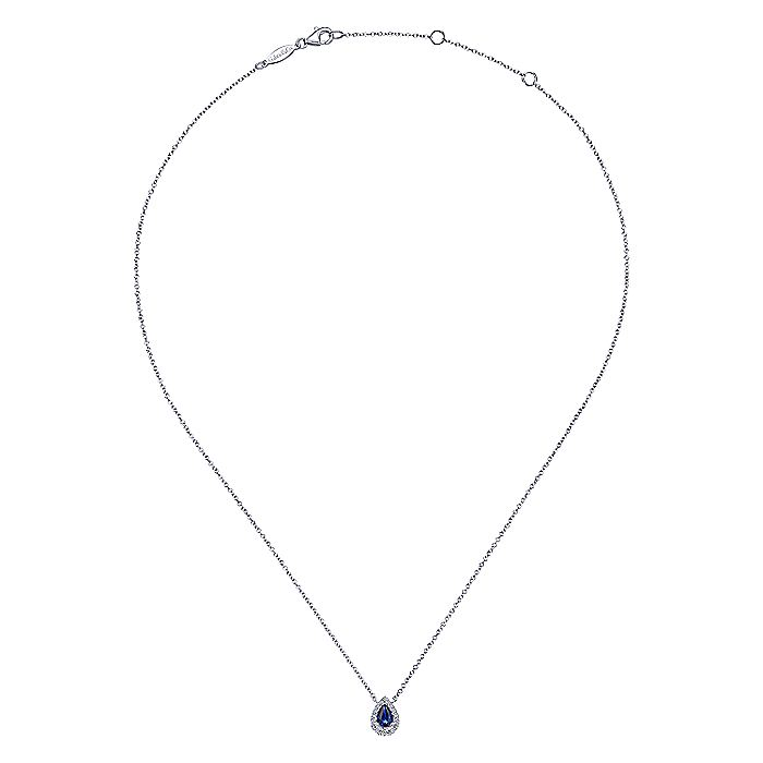 14k White Gold Pear Shaped Sapphire Diamond Halo Fashion Necklace