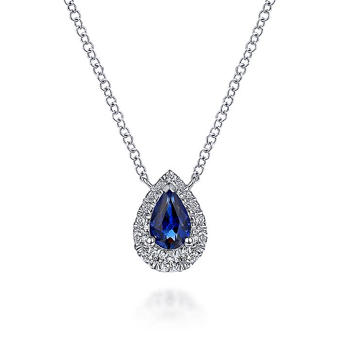 14k White Gold Pear Shaped Sapphire Diamond Halo Pendant Necklace