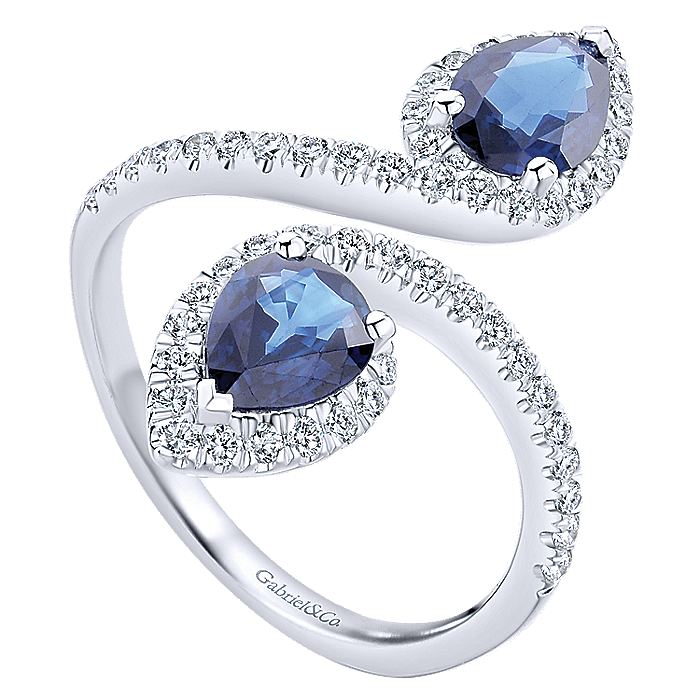 14k White Gold Pear Shaped Sapphire and Diamond Wrap Ring