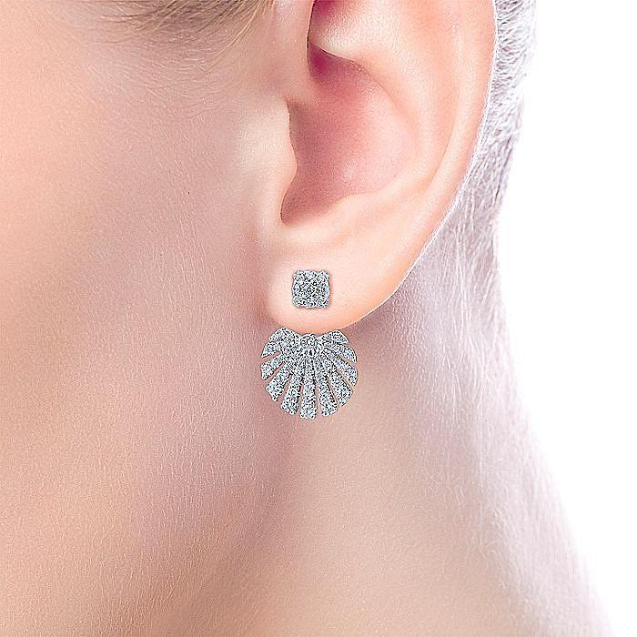 14k White Gold Peek A Boo Circular Diamond Fan Earrings