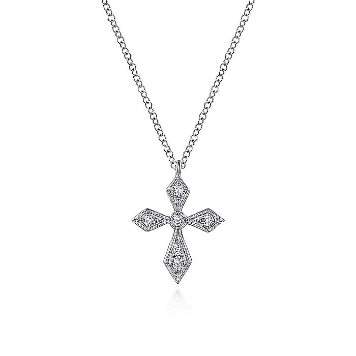 14k White Gold Pointed Diamond Cross Necklace