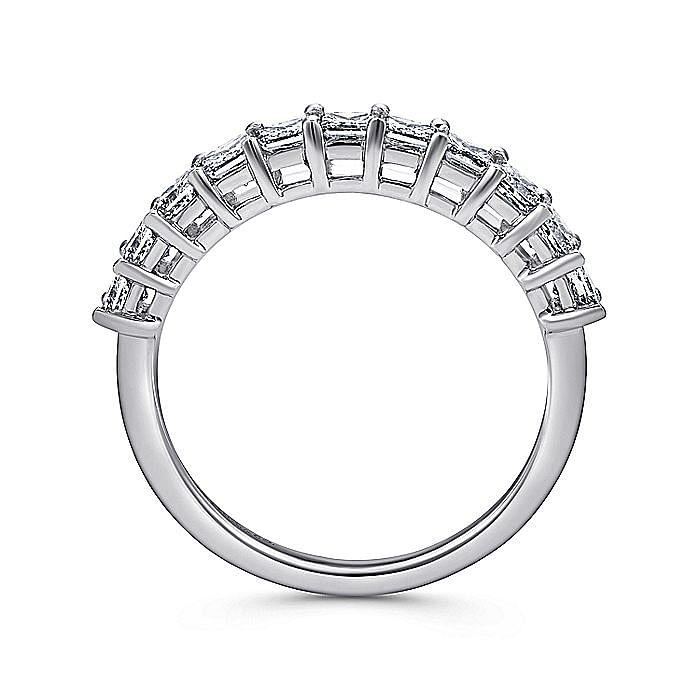 14k White Gold Princess Cut 11 Stone Prong Set Diamond Band