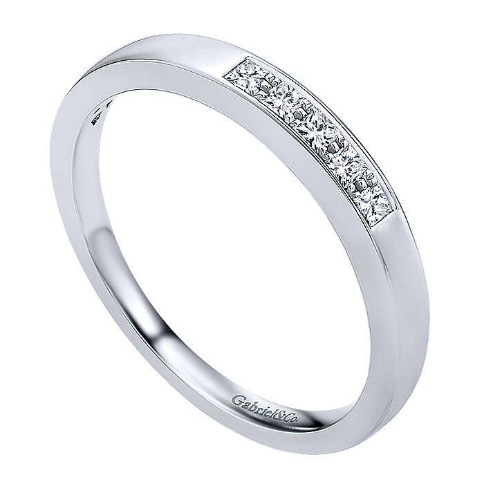 14k White Gold Princess Cut 5 Stone Prong Channel Set Diamond Band