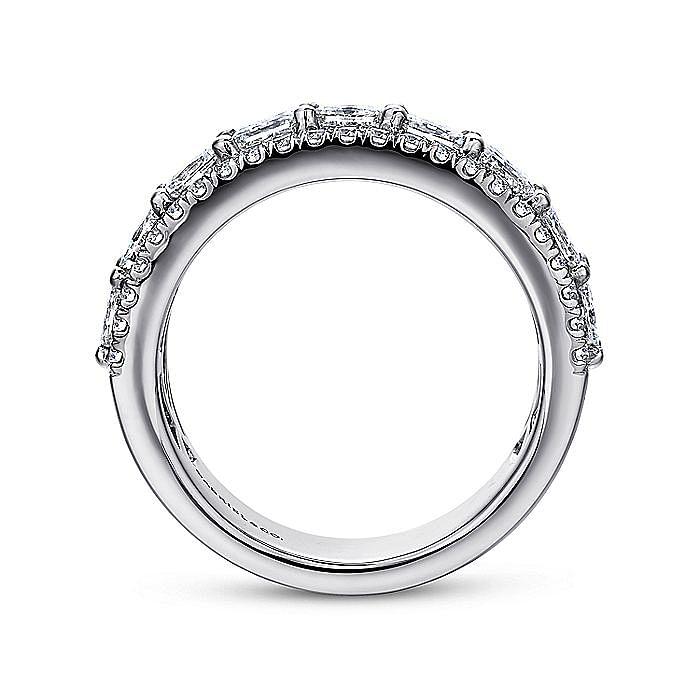 14k White Gold Princess Cut Fancy Diamond Anniversary Band
