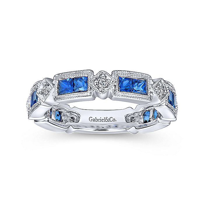14k White Gold Princess Cut Sapphire and Diamond Stackable Ring