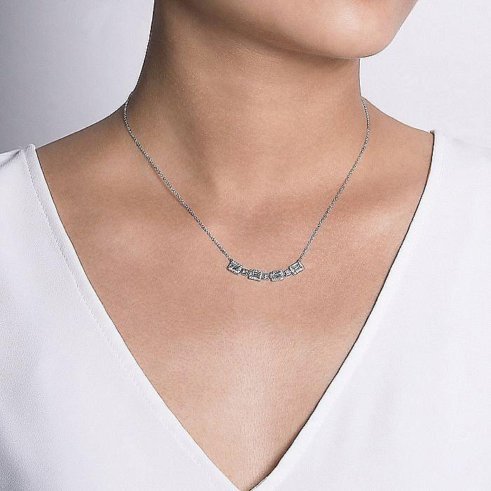 14k White Gold Rectangular Diamond Fashion Necklace