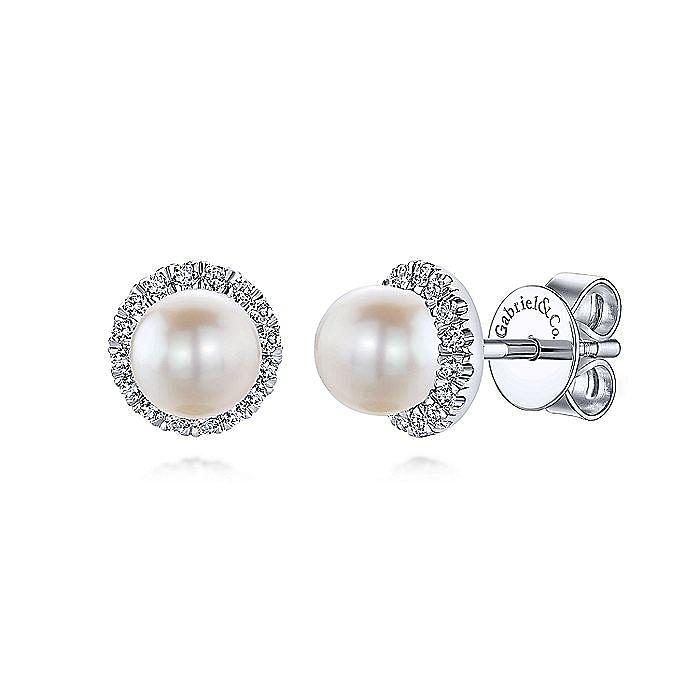 14k White Gold Round Diamond Halo Pearl Stud Earrings