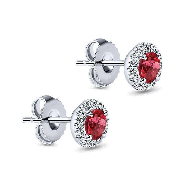 14k White Gold Round Diamond Halo Ruby Stud Earrings