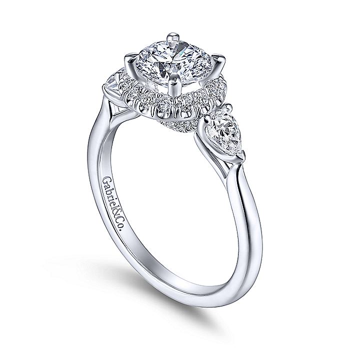 14k White Gold Round Halo Three Stone Diamond Engagement Ring