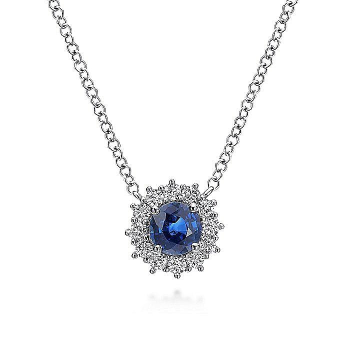 14k White Gold Round Sapphire Diamond Halo Fashion Necklace