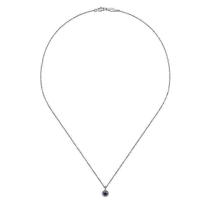 14k White Gold Round Sapphire Diamond Halo Pendant Necklace