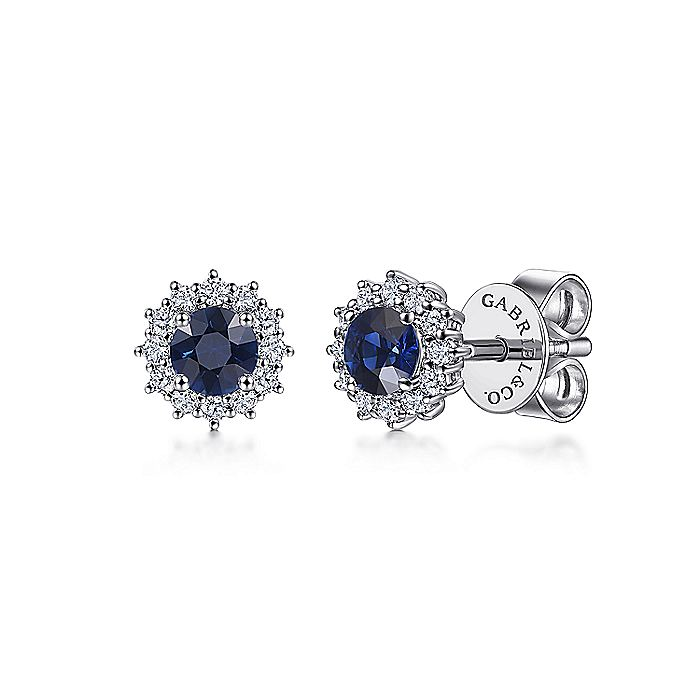 14k White Gold Round Sapphire Diamond Halo Stud Earrings