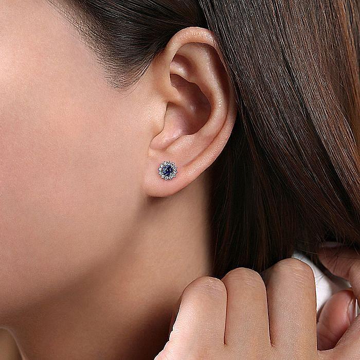 14k White Gold Round Sapphire Diamond Halo Stud Earrings