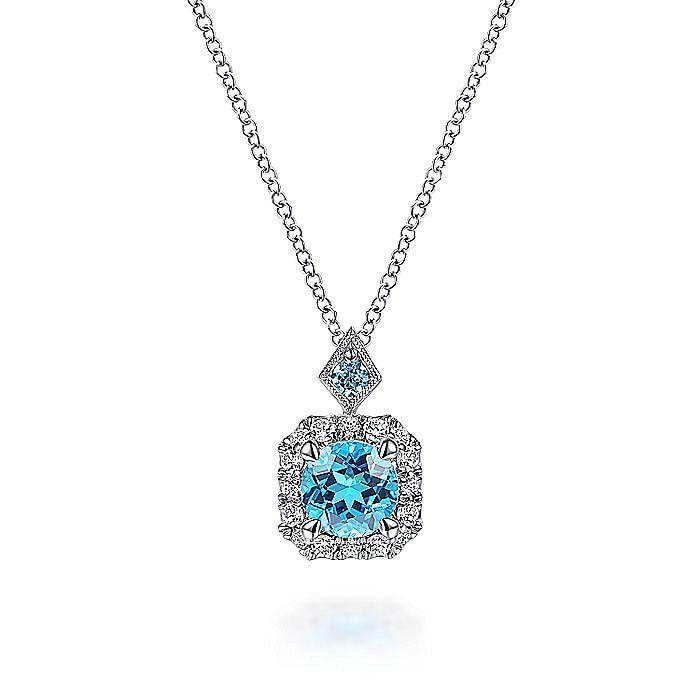 14k White Gold Round Swiss Blue Topaz Diamond Fashion Necklace