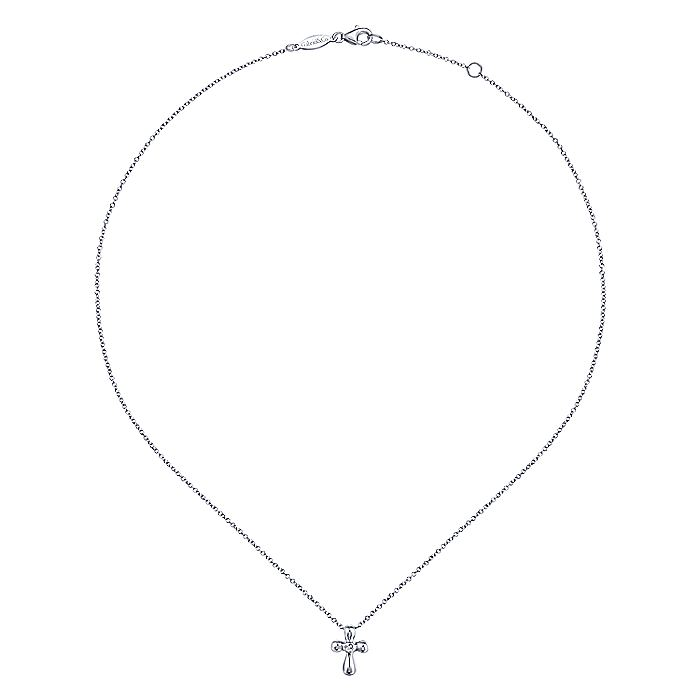 14k White Gold Rounded Diamond Cross Necklace