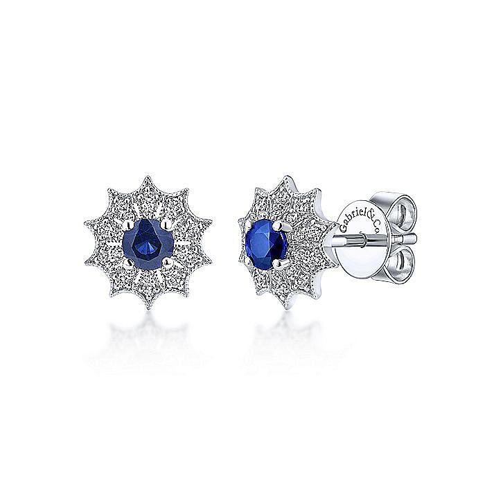 14k White Gold Scalloped Diamond Starburst Sapphire Stud Earrings