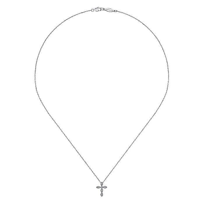 14k White Gold Segmented Diamond Cross Necklace