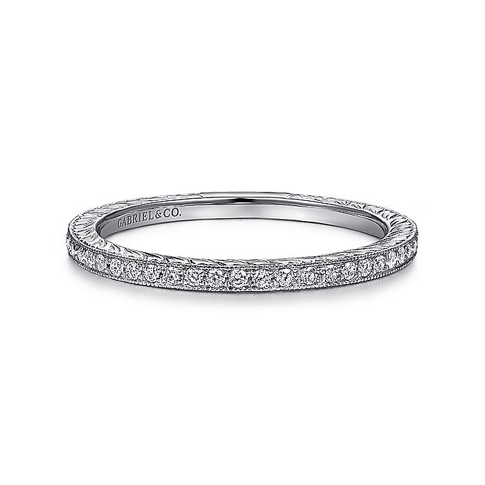 14k White Gold Slim Engraved Pave Diamond Stackable Ring