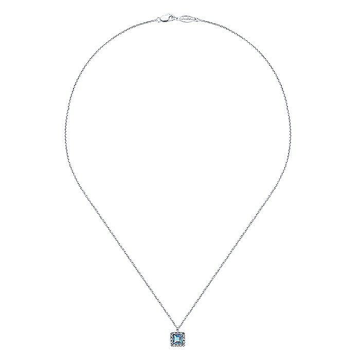 14k White Gold Square Swiss Blue Topaz Diamond Fashion Necklace