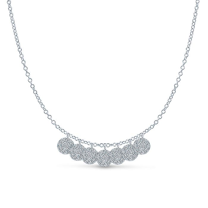 14k White Gold Stacked Diamond Disc Necklace