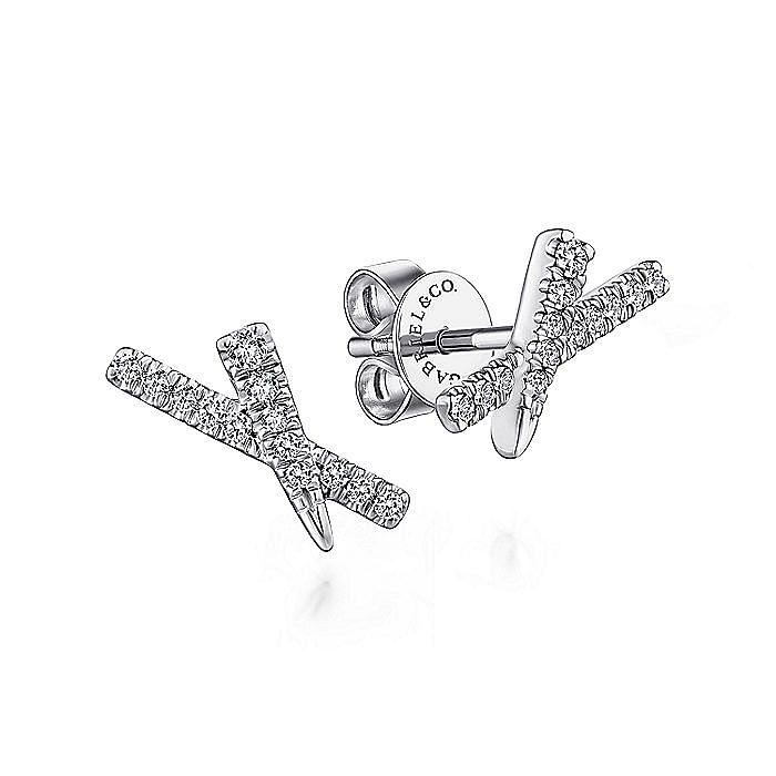 14k White Gold Tapered X Diamond Stud Earrings