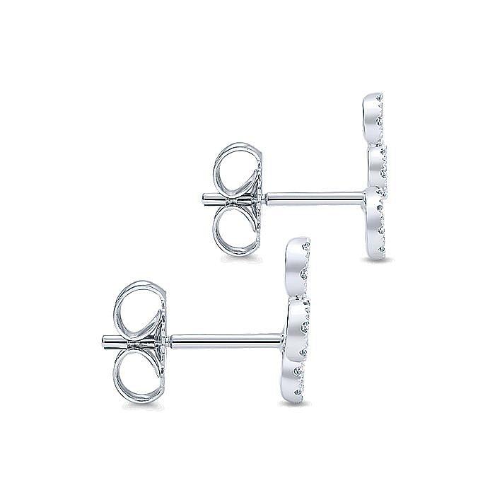 14k White Gold Triple Round Loop Diamond Stud Earrings