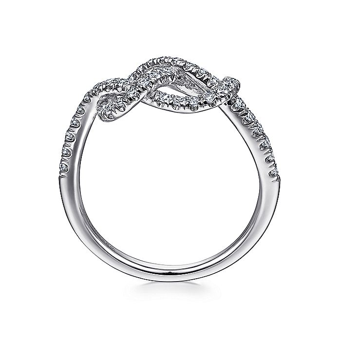 14k White Gold Twisted Diamond Knot Eternity Ring