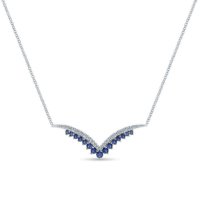 14k White Gold V Shaped Sapphire & Diamond Bar Necklace