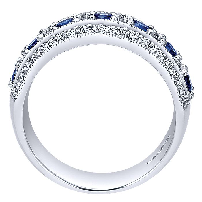 14k White Gold Vintage Inspired Alternating Sapphire and Diamond Band