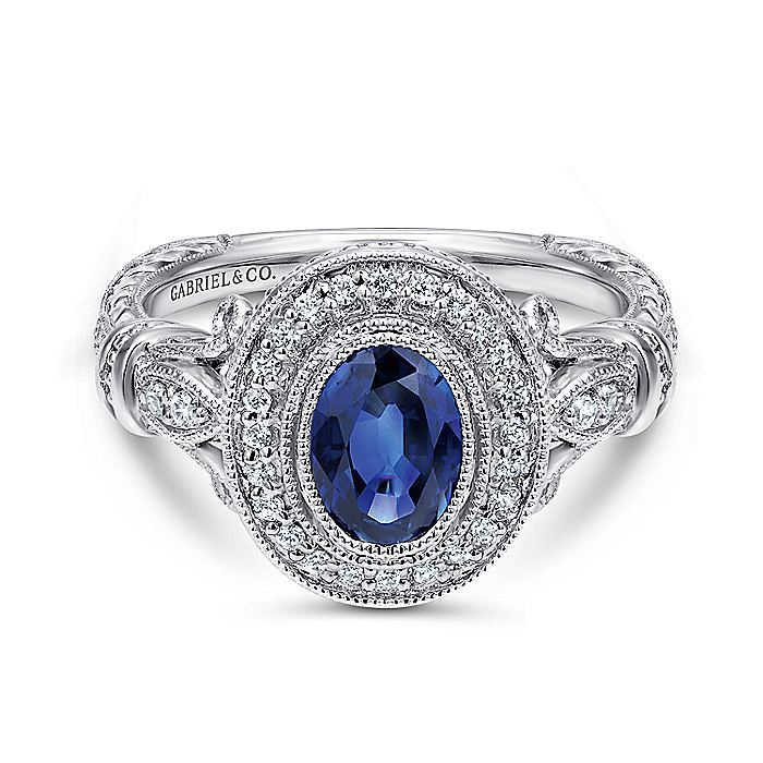 14k White Gold Vintage Inspired Classic Oval Sapphire and Diamond Halo Ring