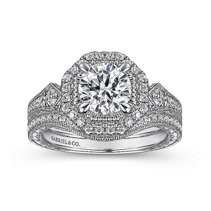 14k White Gold Vintage Inspired Round Hexagonal Halo Engagement Ring