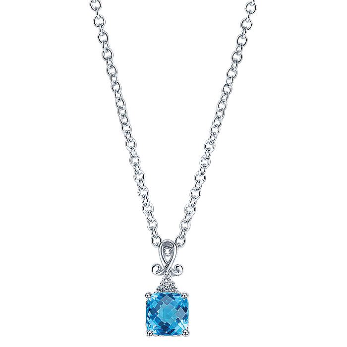 14k White Gold Vintage Inspired Swiss Blue Topaz Fashion Necklace