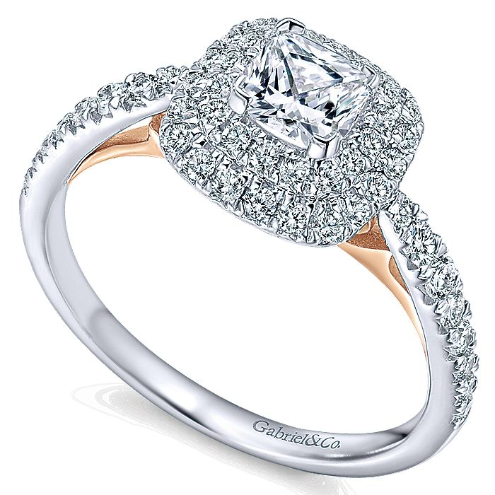 14k White-Rose Gold Cushion Double Halo Complete Diamond Engagement Ring
