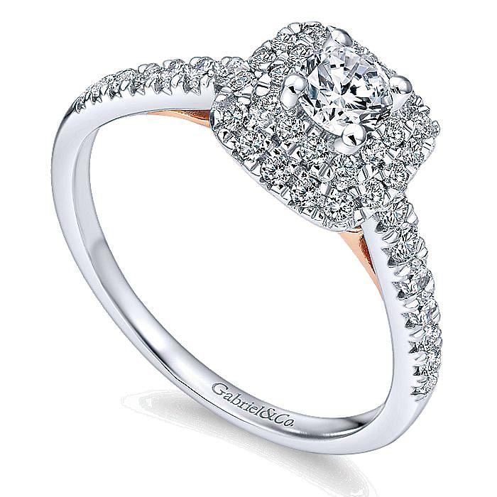 14k White-Rose Gold Cushion Double Halo Round Diamond Complete Engagement Ring