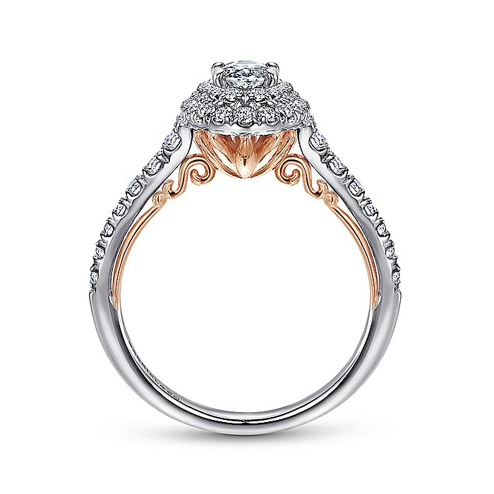 14k White-Rose Gold Oval Double Halo Complete Diamond Engagement Ring