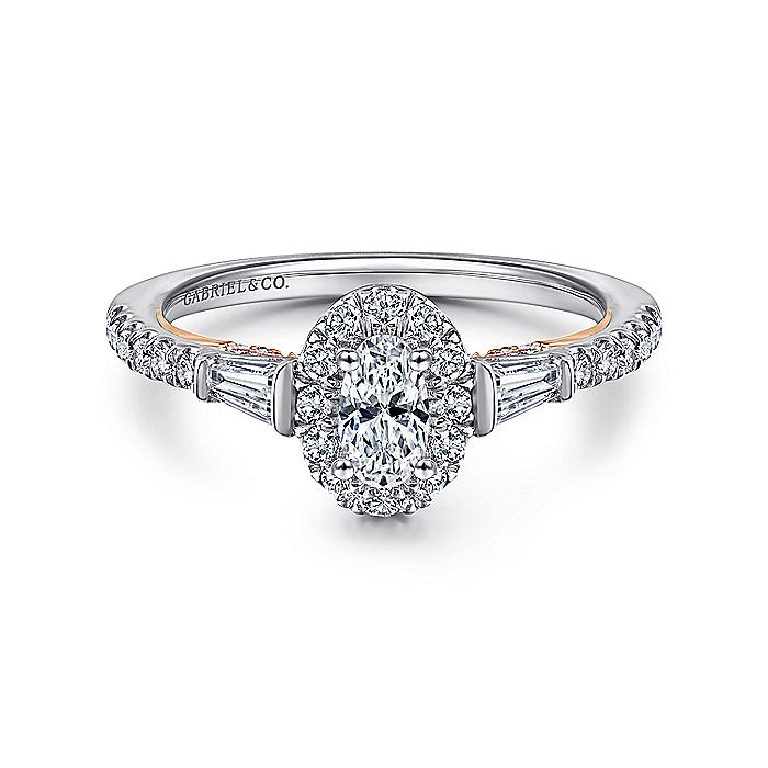 14k White-Rose Gold Oval Halo Three Stone Diamond Engagement Ring