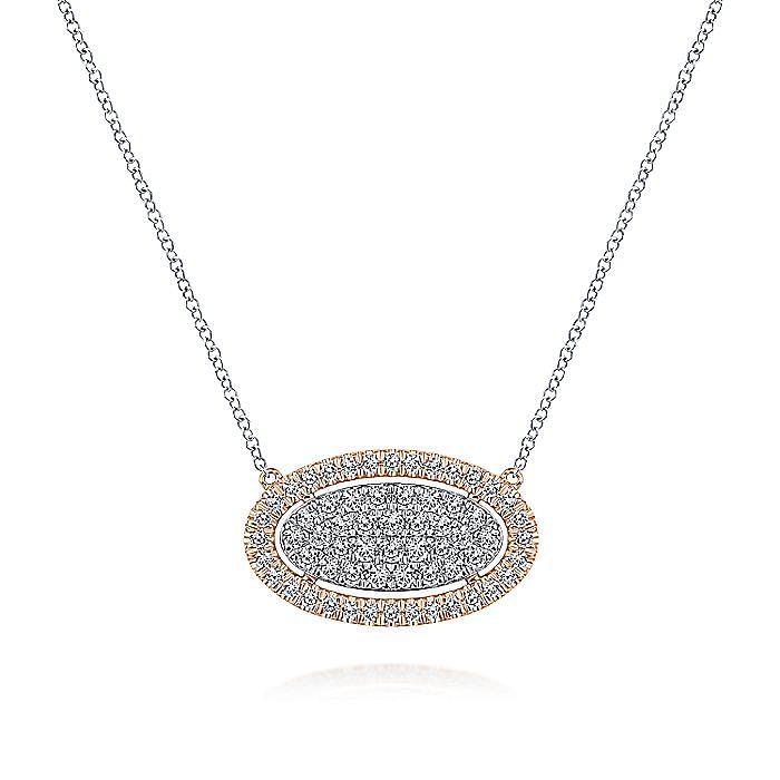 14k White/Rose Gold Pave Diamond Oval Pendant Fashion Necklace