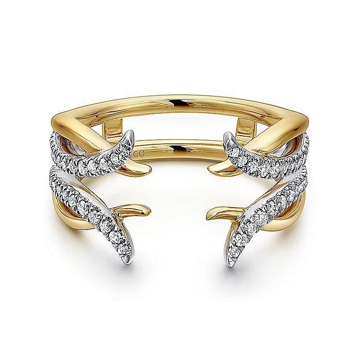14k White-Yellow Gold Enhancer Diamond Anniversary Band
