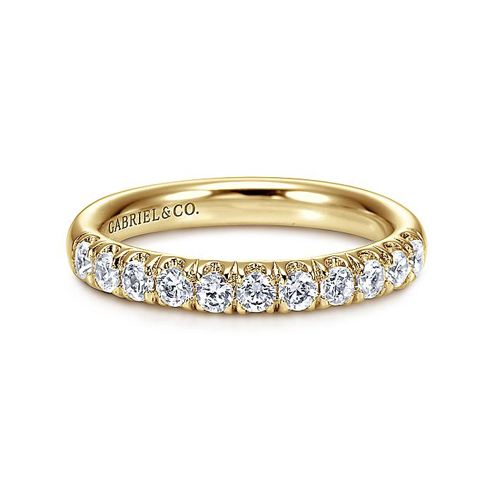14k Yellow Gold 11 Stone French pave Set Band