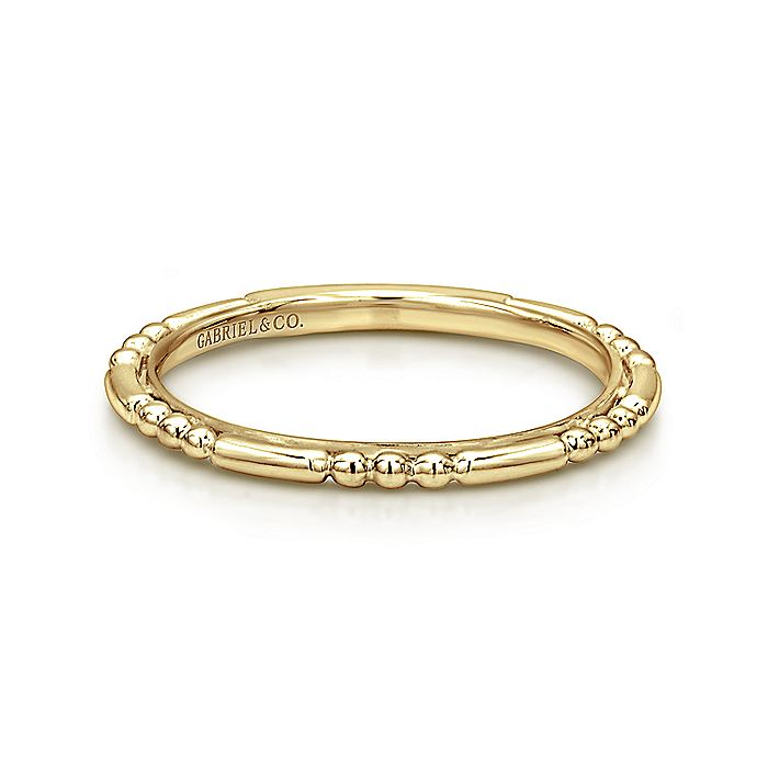 14k Yellow Gold Ball and Bar Station Band
