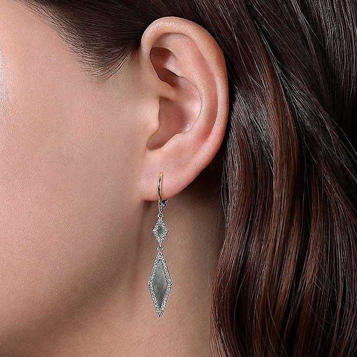 14k Yellow Gold Black Mother of Pearl Diamond Drop Earrings