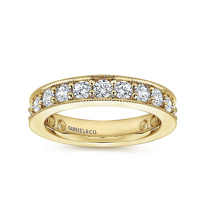 14k Yellow Gold Channel Prong Set Eternity Band