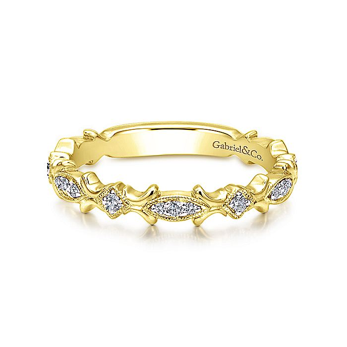 14k Yellow Gold Contoured Diamond Stackable Ring