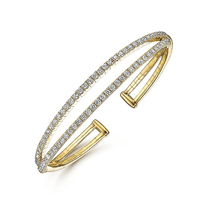 14k Yellow Gold Criss Cross Diamond Bangle Bracelet
