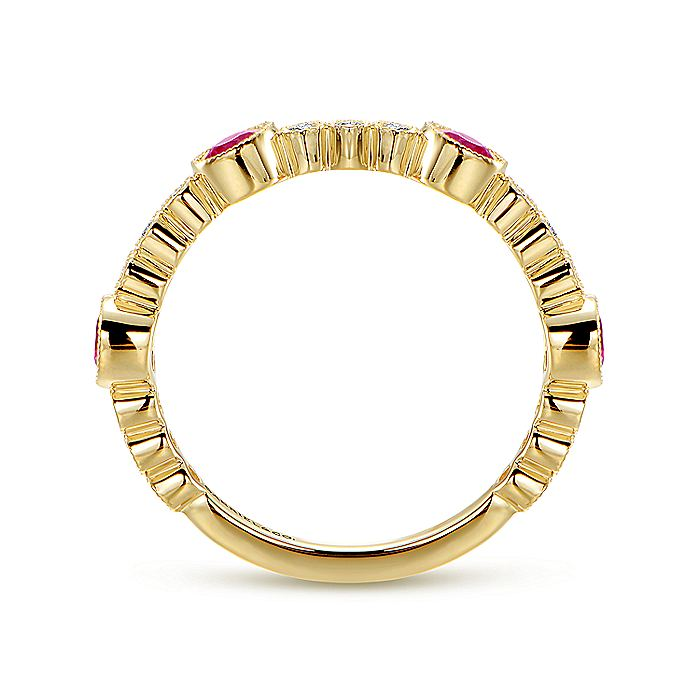 14k Yellow Gold Diamond And Ruby Stackable Ladies Ring