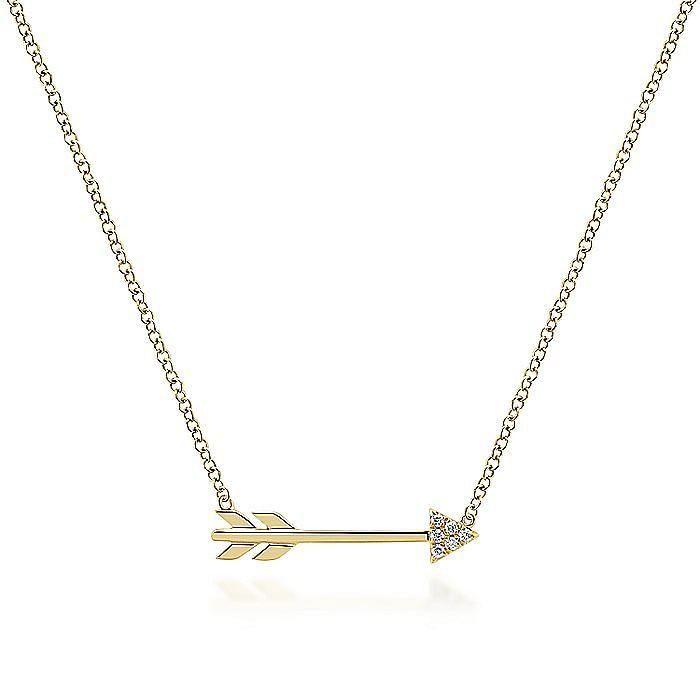 14k Yellow Gold Diamond Arrow Fashion Necklace