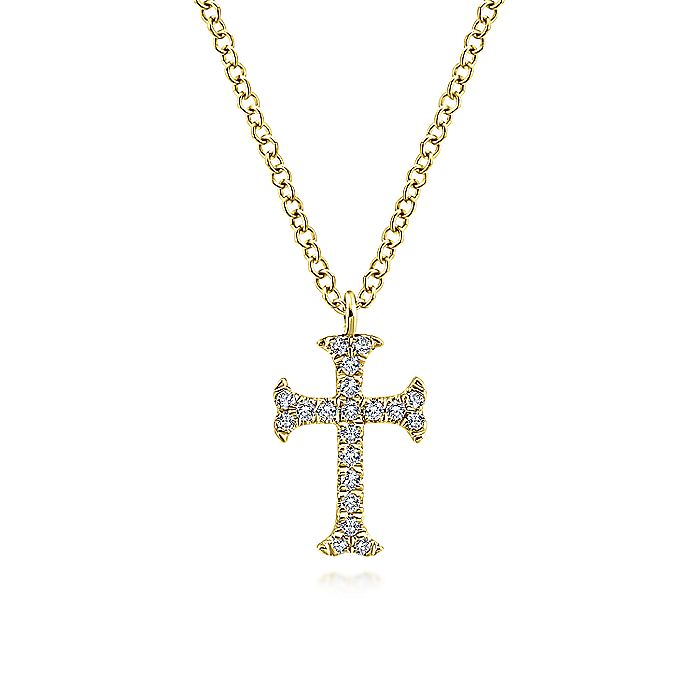 14k Yellow Gold Diamond Cross Necklace