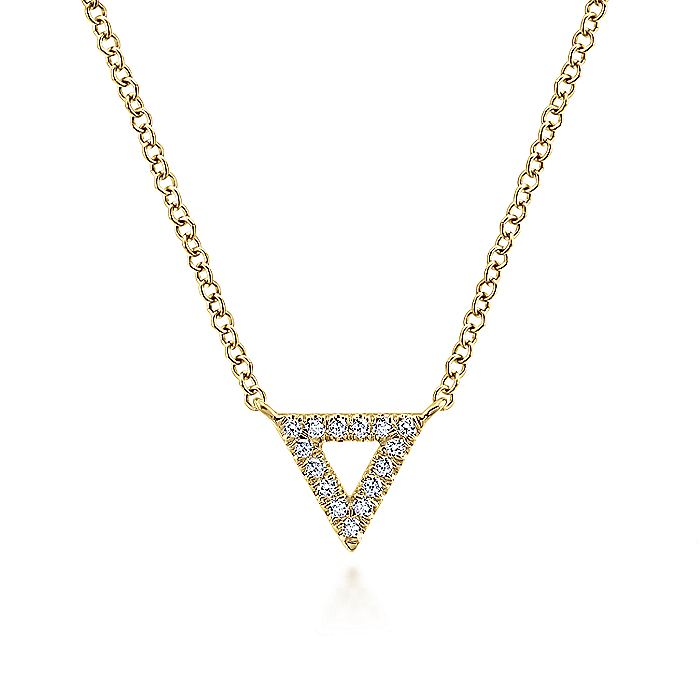 14k Yellow Gold Diamond Open Pave Triangle Fashion Necklace