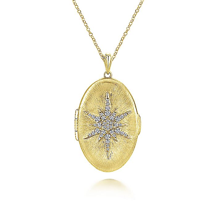 14k Yellow Gold Diamond Starburst Locket Necklace