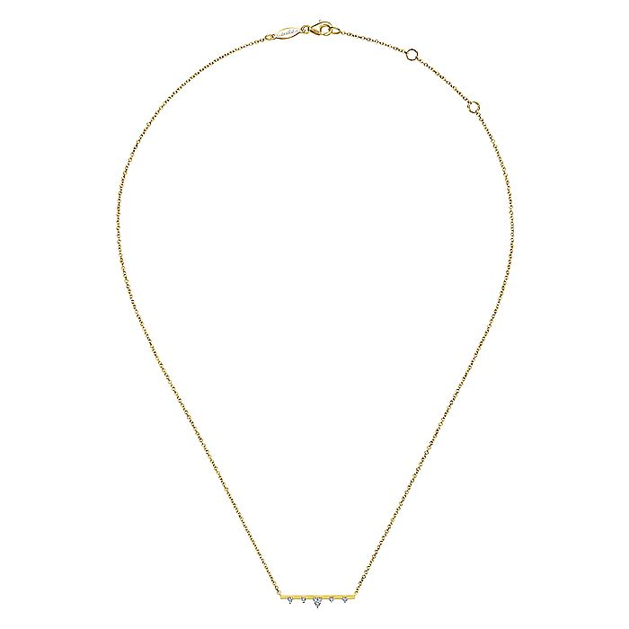 14k Yellow Gold Diamond Station Bar Necklace